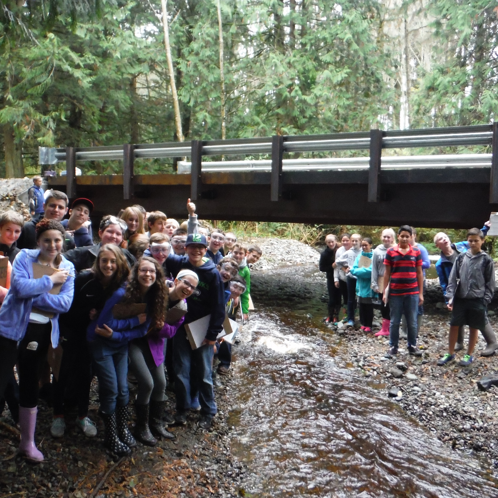 Conway students at Starbird Creek restoration site